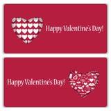 Комплект карточек подарка на день валентинки Стоковые Фото