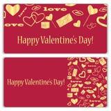 Комплект карточек подарка на день валентинки Стоковое Изображение RF