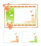 Комплект карточек подарка Сделанный из ткани с смычками и бабочками Стоковое Фото