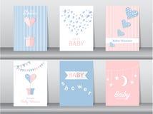 Комплект карточек приглашений детского душа, плакат, приветствие, шаблон, сердца, иллюстрации вектора иллюстрация штока