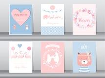 Комплект карточек приглашений детского душа, плакат, приветствие, шаблон, животное, медведь, фламинго, иллюстрации вектора бесплатная иллюстрация