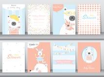 Комплект карточек приглашения детского душа, день рождения, плакат, шаблон, поздравительные открытки, животные, милые, медведи, и бесплатная иллюстрация