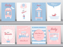 Комплект карточек приглашения детского душа, поздравительых открыток ко дню рождения, плаката, шаблона, поздравительных открыток, иллюстрация вектора