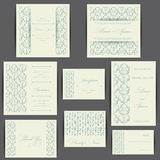 Комплект карточек приглашения свадьбы Стоковые Изображения