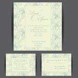 Комплект карточек приглашения свадьбы Стоковое Фото