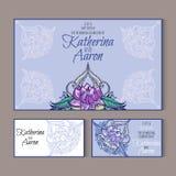 Комплект карточек свадьбы приглашения с местом для текста Стоковое Изображение RF