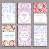 Комплект 6 карточек свадьбы с восточными орнаментами Стоковые Фотографии RF