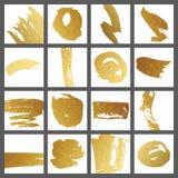 Комплект карточек с ходами щетки золота для дизайна Стоковое фото RF