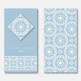 Комплект 2 карточек, шаблон для приветствовать, приглашение, wedding Стоковые Фото