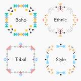 Комплект карточек Boho племенной этнический красочный также вектор иллюстрации притяжки corel Стоковое Изображение