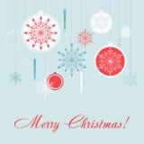 Комплект карточки вектора украшений рождества год снежинок предпосылки новый Стоковая Фотография