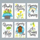 Комплект карточки весны с весной закавычит, каллиграфия, цветки Улучшите для поздравительных открыток, значков продажи, scrapbook иллюстрация штока