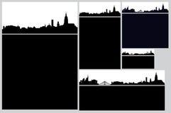 Комплект карточки города иллюстрация вектора
