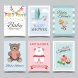 Комплект карточки детского душа для мальчика для партии девушки с днем рождения своей мальчик свой вектор плаката карточки пригла Стоковое Фото