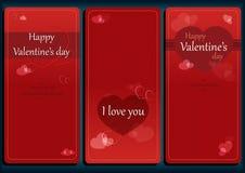 Комплект карточки дня валентинок романтичный Стоковые Фотографии RF