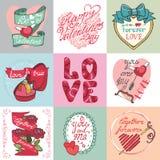 Комплект карточки дня валентинок Стоковое Изображение RF
