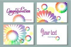 комплект карточки предпосылки цветка Стоковые Изображения