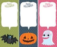 Комплект карточки хеллоуина с тыквой, летучей мышью, призраком. Стоковая Фотография