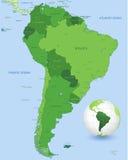 Комплект карты вектора зеленого цвета Южной Америки Стоковая Фотография RF