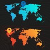 Комплект карты мира положения Стоковые Изображения RF