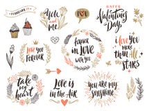 Комплект каллиграфии дня ` s валентинки нарисованный рукой Стоковые Изображения RF