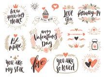 Комплект каллиграфии дня ` s валентинки нарисованный рукой Стоковое Фото