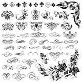 Комплект каллиграфических элементов для дизайна Стоковое Изображение