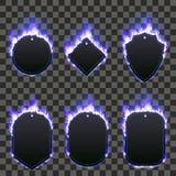Комплект 6 кадров окруженных с голубым пламенем Стоковое Фото