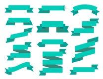Комплект квартиры ленты вектора Собрание различных знамен ленты Год сбора винограда ввел ленты и шаблон в моду значка декоративно бесплатная иллюстрация