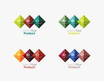 Комплект квадратных абстрактных шаблонов или infographics предпосылки Стоковое Фото