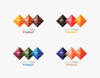 Комплект квадратных абстрактных шаблонов или infographics предпосылки Стоковые Фото