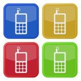 Комплект 4 квадратных значков - старый мобильный телефон Стоковое Изображение