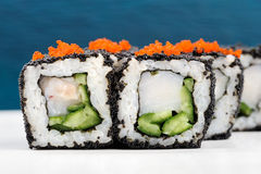 Комплект квадратных кренов суш с белыми рыбами, vegs, плавленым сыром Стоковое Фото