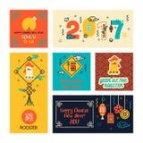 Комплект китайских карточек Нового Года в современном линейном стиле иллюстрация штока