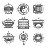 Комплект китайских логотипов вензелей магазина чая Стоковое Изображение RF