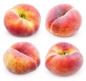 Комплект китайских плоских персиков донута на белизне Стоковые Фото