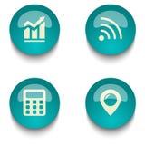 Комплект кнопки сети образования голубого зеленого цвета Стоковое фото RF