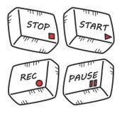 Комплект кнопки средств массовой информации притяжки руки Стоковое Фото