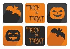 Комплект кнопки вектора хеллоуина с летучей мышью и тыквой Стоковая Фотография