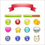 Комплект кнопок, баров прогресса, ленты и значков для веб-дизайна a Стоковое Фото