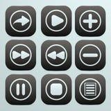 Комплект кнопок в черноте с белыми значками на их o Стоковая Фотография RF