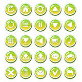 Комплект кнопок желтого зеленого цвета стекловидных для интерфейсов (интерфейса игры, пользовательского интерфейса app) стоковое фото rf