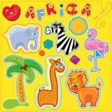 Комплект кнопок, животных шаржа и слова АФРИКА -  иллюстрация штока