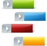 Комплект кнопок игры прямоугольника сияющих Стоковое Изображение