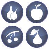 Комплект кнопок с овощами и плодоовощами Стоковые Изображения RF