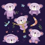 Комплект коалы шаржа Стоковое Изображение