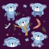 Комплект коалы шаржа Стоковые Фотографии RF