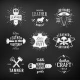 Комплект кожаного логотипа ремесла конструирует, ретро неподдельное Стоковые Фотографии RF