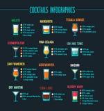 Комплект коктеилей infographic Стоковые Изображения