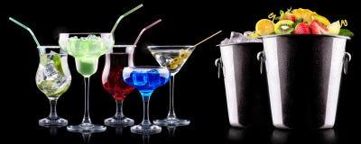 Комплект коктеиля спирта с плодоовощами лета Стоковые Изображения RF